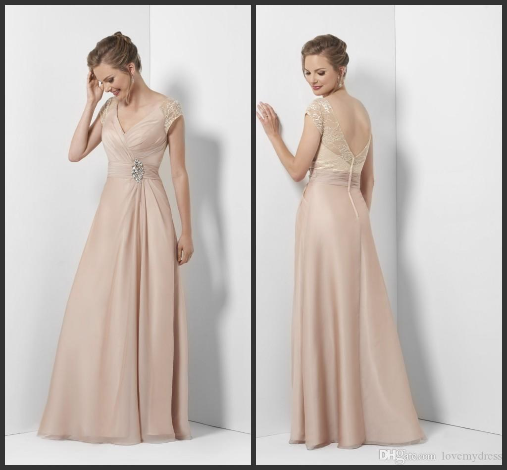 Evening Gowns Sleeves Backless Short Sleeve Floor Length A Line ...