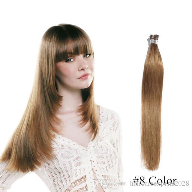Estensioni 100% capelli umani prebond straight 100g 1 / filamento stick hair I tip estensioni dei capelli cheratina # 4 # 6 # 8 marrone scuro spedizione gratuita