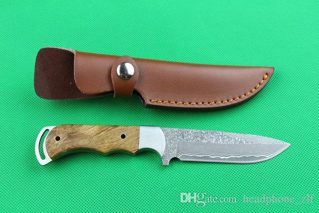 2016 New Damascus Fixed blade hunting knife 58HRC Drop point Blade Shadow wood handle Survial straight knife with leather sheath