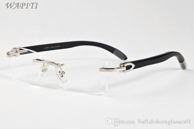 Mens Buffalo Horn Glasses Wood Sunglasses Summer Styles 2019 Fashion Rimless women Sports sunglasses for men With Box Eyewear