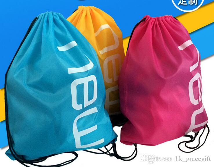 تخصيص البوليستر الرباط حقيبة الظهر طباعة شعار ماء الرباط أكياس تخزين التسوق على الأسهم تخصيص بالجملة