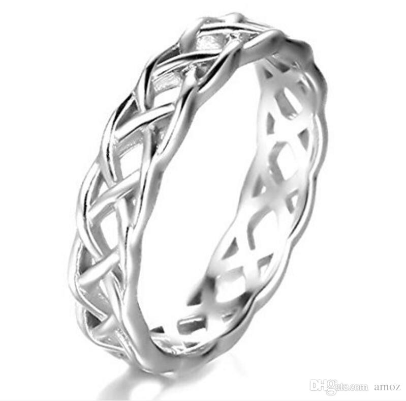 925 Sterling Silver Celtic Knot Eternity Band Ring Engagement