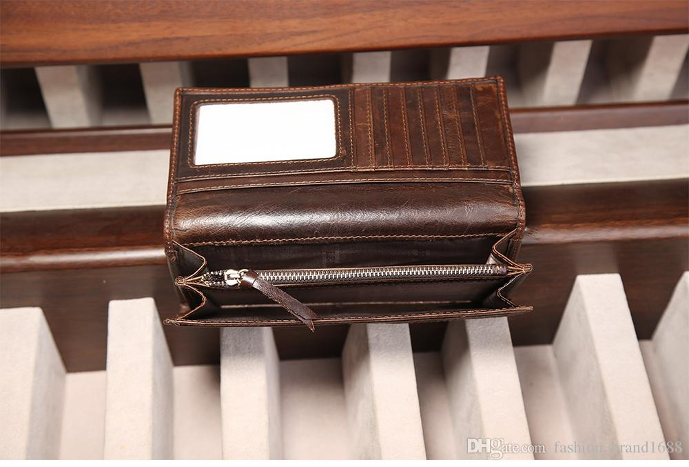 Men 's leather wallet wholesale leisure fashion long money chuck layer of cowhide oil wax leather wallet multi - card bit good
