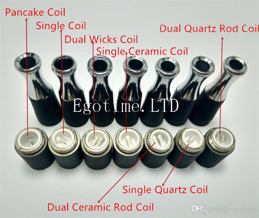 Dual Quartz Rod Skillet Dual Ceramic Rod Atomizer Core Skillet Dry Herb Vaporizador Cabeza de la bobina para el reemplazo del tanque de cera Vapor EGO T Dry Herb