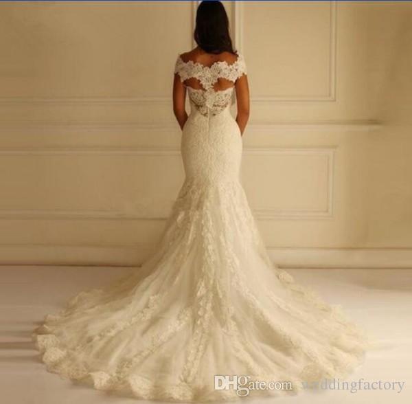 Schitterend van de schouder plus size zeemeermin trouwjurk vestido de novia kant applicaties illusie terug bruidsjurken Court Train