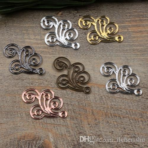 07408 20*30mm antique bronze silver rose gold gun black filigree flower charms for jewelry making, alloy metal necklace pendant for bracelet
