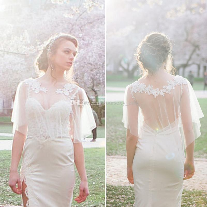 d436a1890f2f 2019 2018 Modest Wedding Dresses Shrugs Bohemian Wedding Boleros Appliques  Lace Tulle Bridal Shawls Boho Bridal Jackets From Yoursexy_cute, $11.87 |  DHgate.