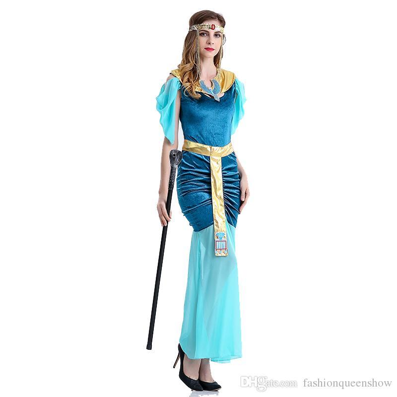 Bleu halloween luxe princesse costume grec déesse robe arabe reine égyptien femmes cosplay costume costume fantaisie