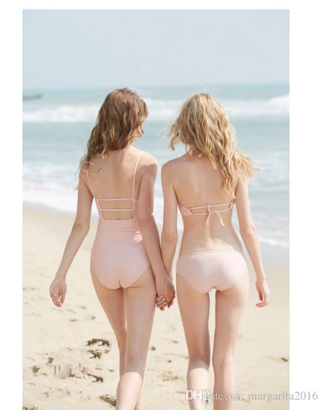 New Hot Sexy semplice spandex Bikini Swimwear le donne Due pezzi costume da bagno Push Up imbottito costumi da bagno in rosa PS3038