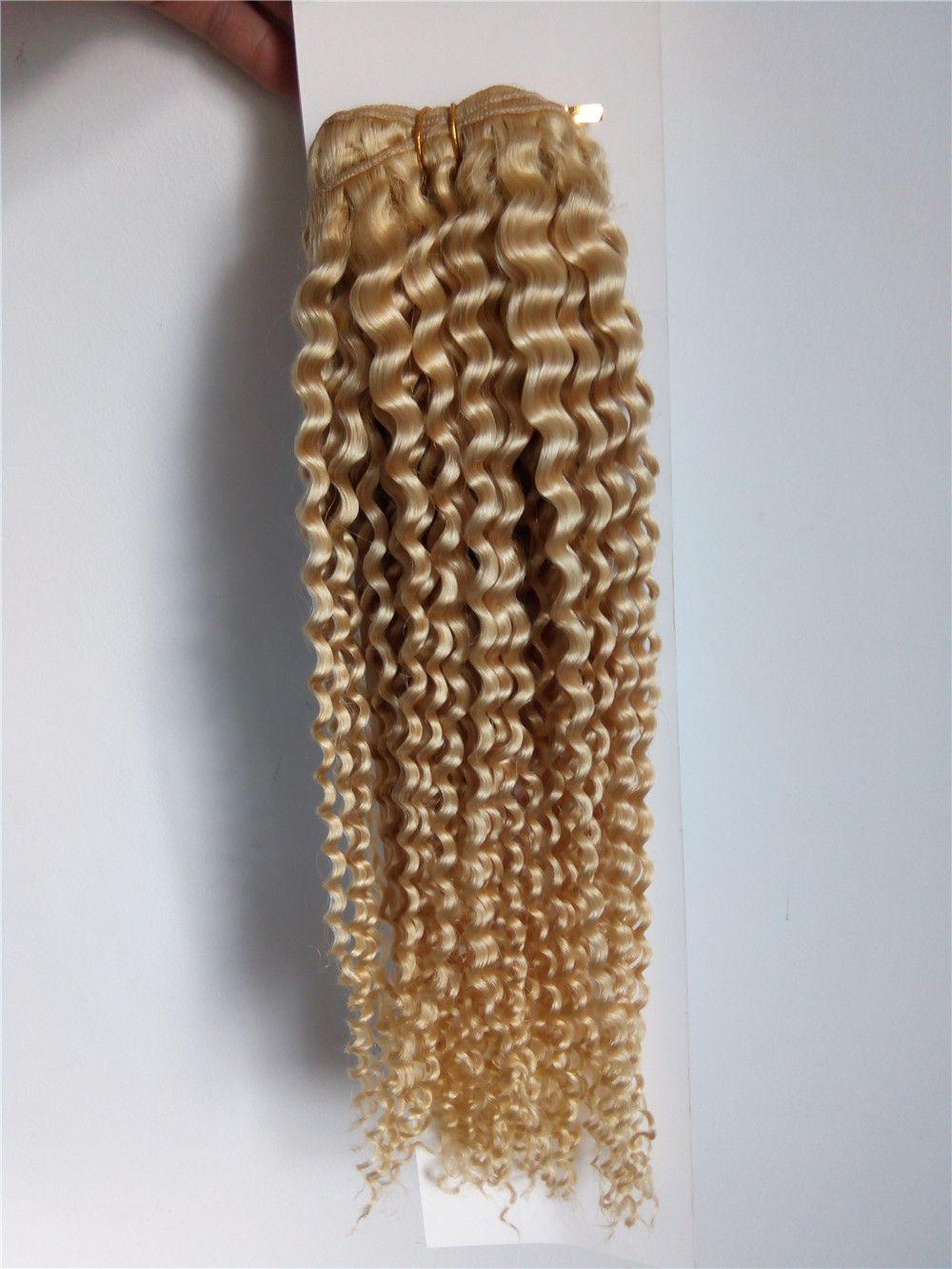 Blonde Human Hair Weaves 12-28Inch #613 Brazilian Peruvian Deep Wave Curly Hair Extensions 7A Grade High Quality Hair Weft
