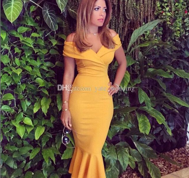 65395e1a0c5 Sexy Off Shoulder Mermaid Evening Dresses Ruffles Satin Tea Length  Celebrity Dresses Mustard Yellow Evening Party Dresses Zipper Up Glamorous  Evening ...