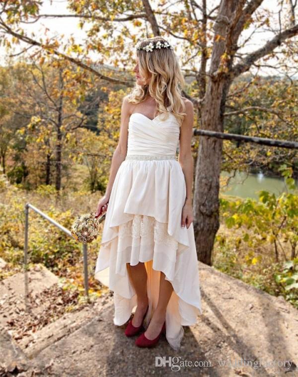 국가 높은 낮은 웨딩 드레스 연인 Ruched 민소매 레이어 계층 스커트 짧은 비치 웨딩 드레스 안녕 Lo 신부 가운 띠