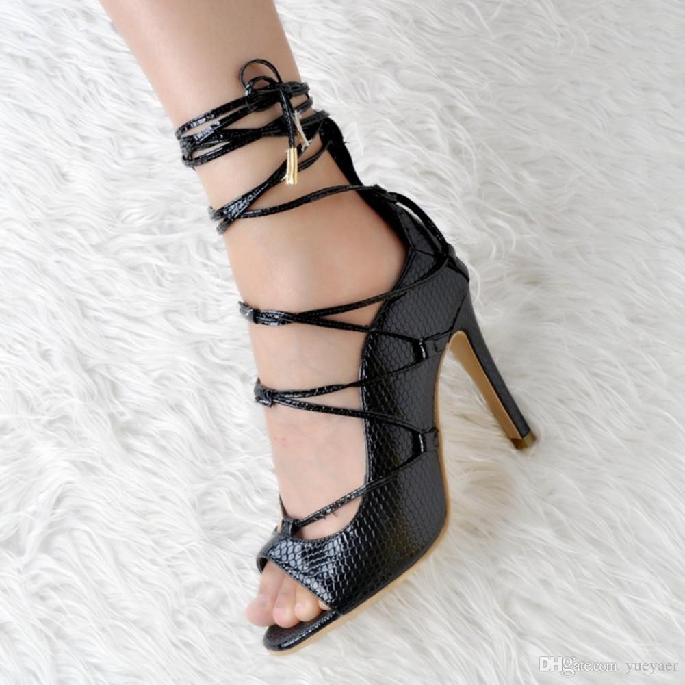 Zandina Real Pictures Femmes Mode Fait À La Main 10cm Peep Toe Style Romain Bride De Cheville À Talons Hauts Chaussures Noir XD016