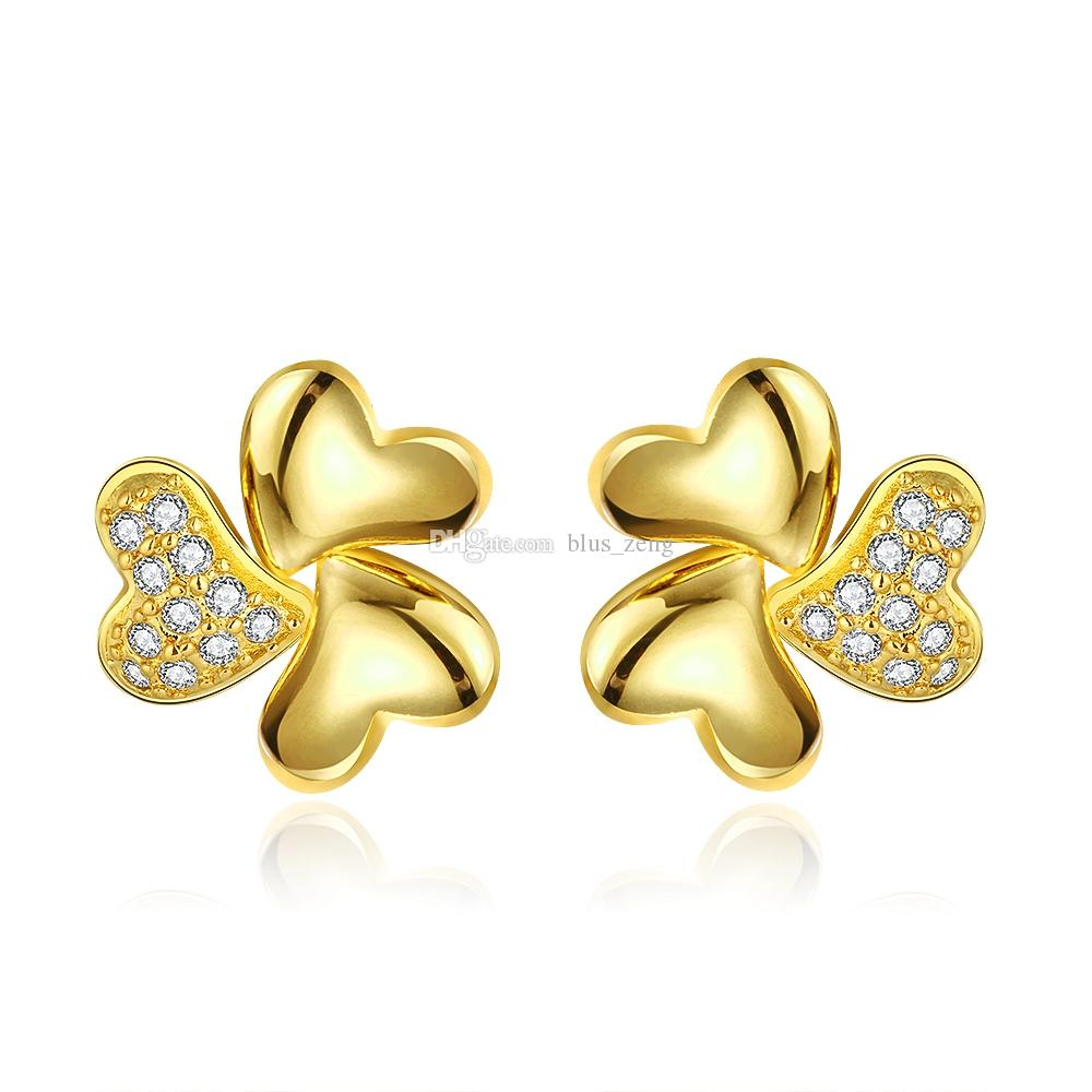 jewelry yellow rose studs mettlle solid ops gold diamond stud girls products earrings cut
