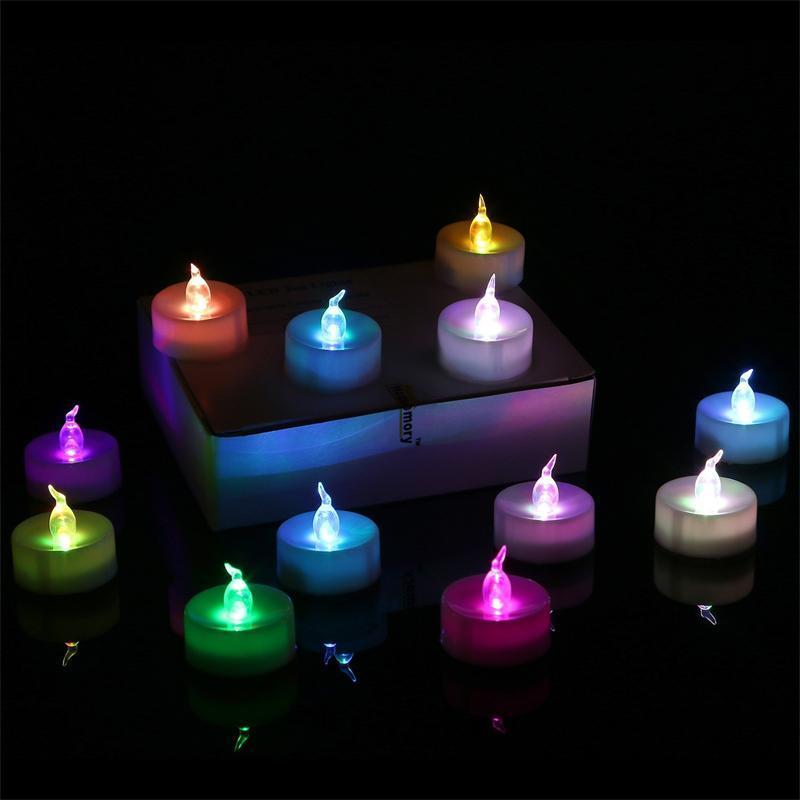 3,5 * 4,5 centimetri LED Tealight del tè candele senza fiamma di luce colorata gialla a pile di compleanno di cerimonia nuziale decorazione della festa di Natale