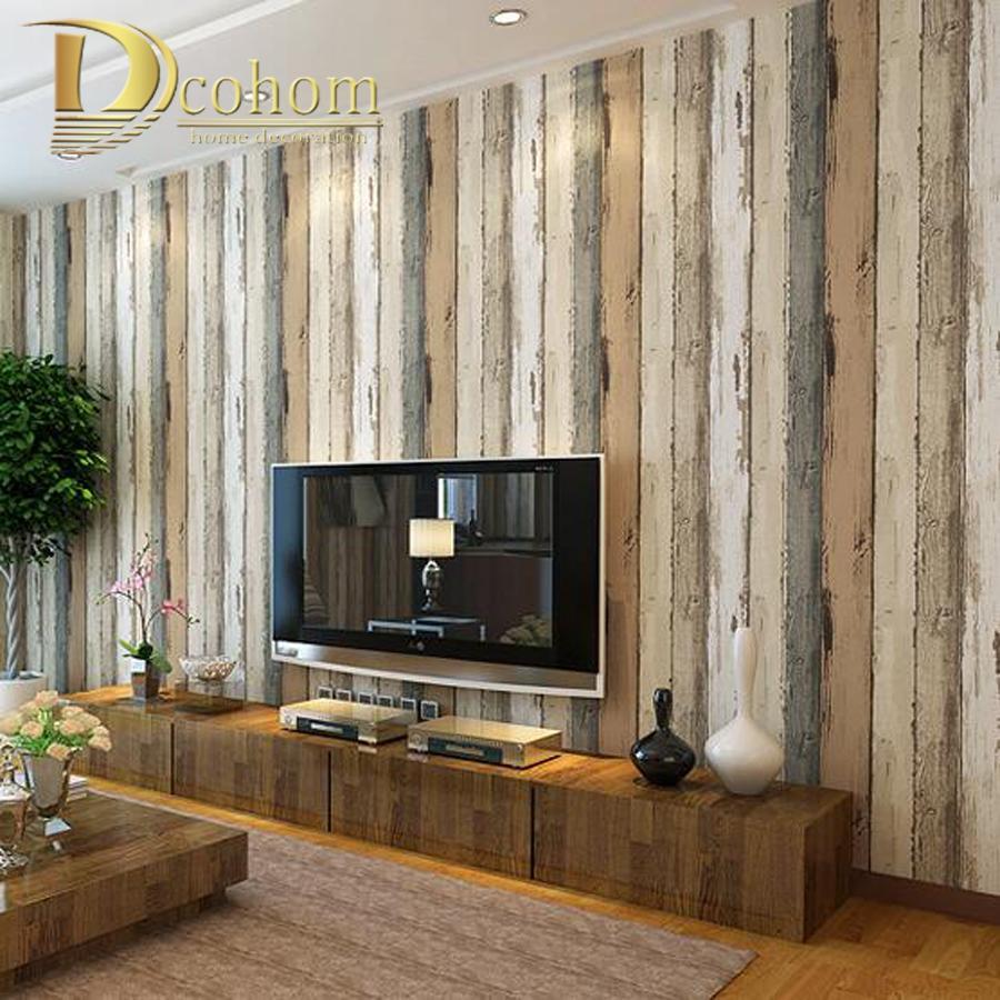 Wholesale Mediterranean Vintage 3d Textured Wood Striped Wallpaper