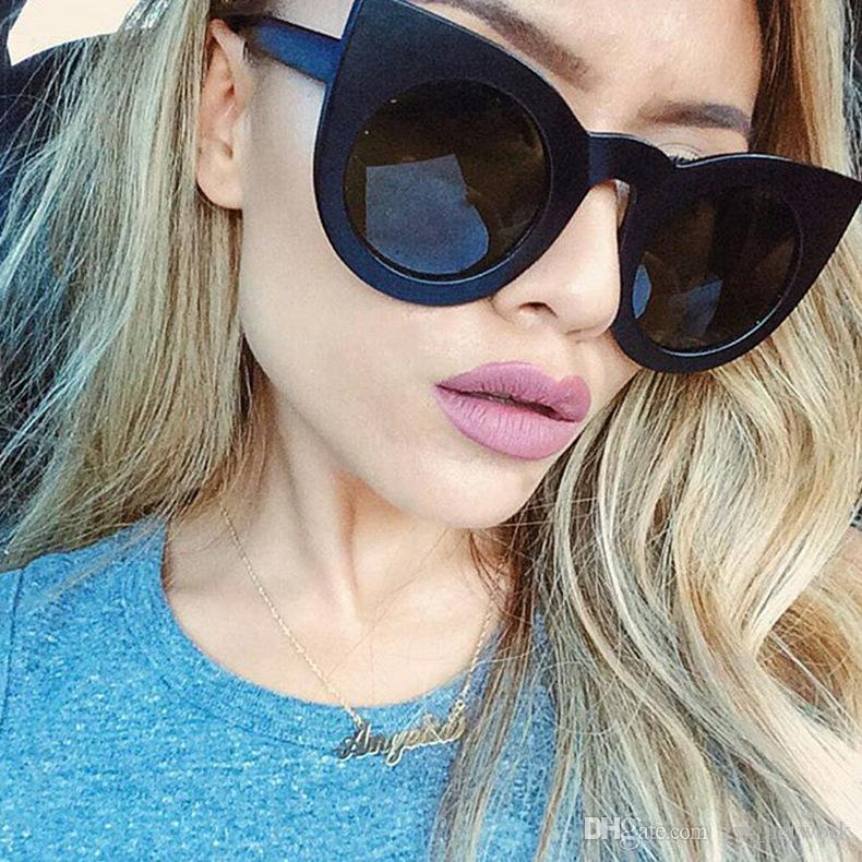 Hot Big frame cat eye sunglasses for women fashion personality beach sunglass Cool EU US style sun glass for Holiday