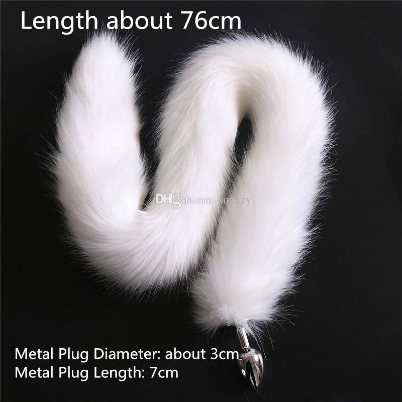 3cm dia Anal plug fox tail Stainless steel butt plug 76cm length red black white dog cat tail metal anal plug cosplay sex toys