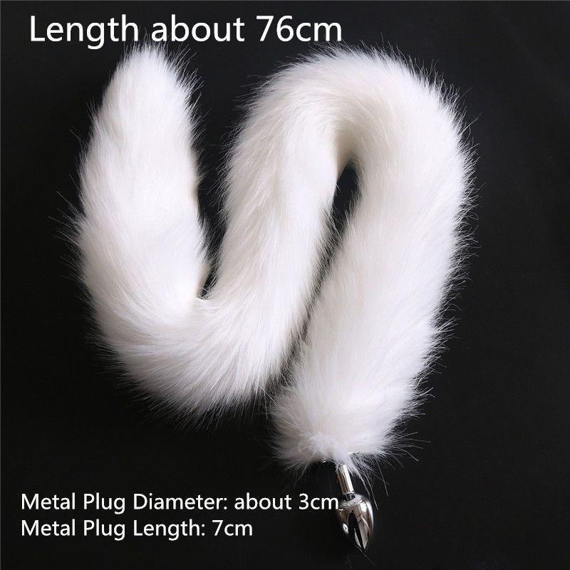 Morbido Fluffy 76 centimetri Faux Fur Red Cat Nero Tail Plug Erotic Fox Tail spina anale del metallo dell'acciaio inossidabile Giocattoli Butt le donne prodotti adulti del sesso