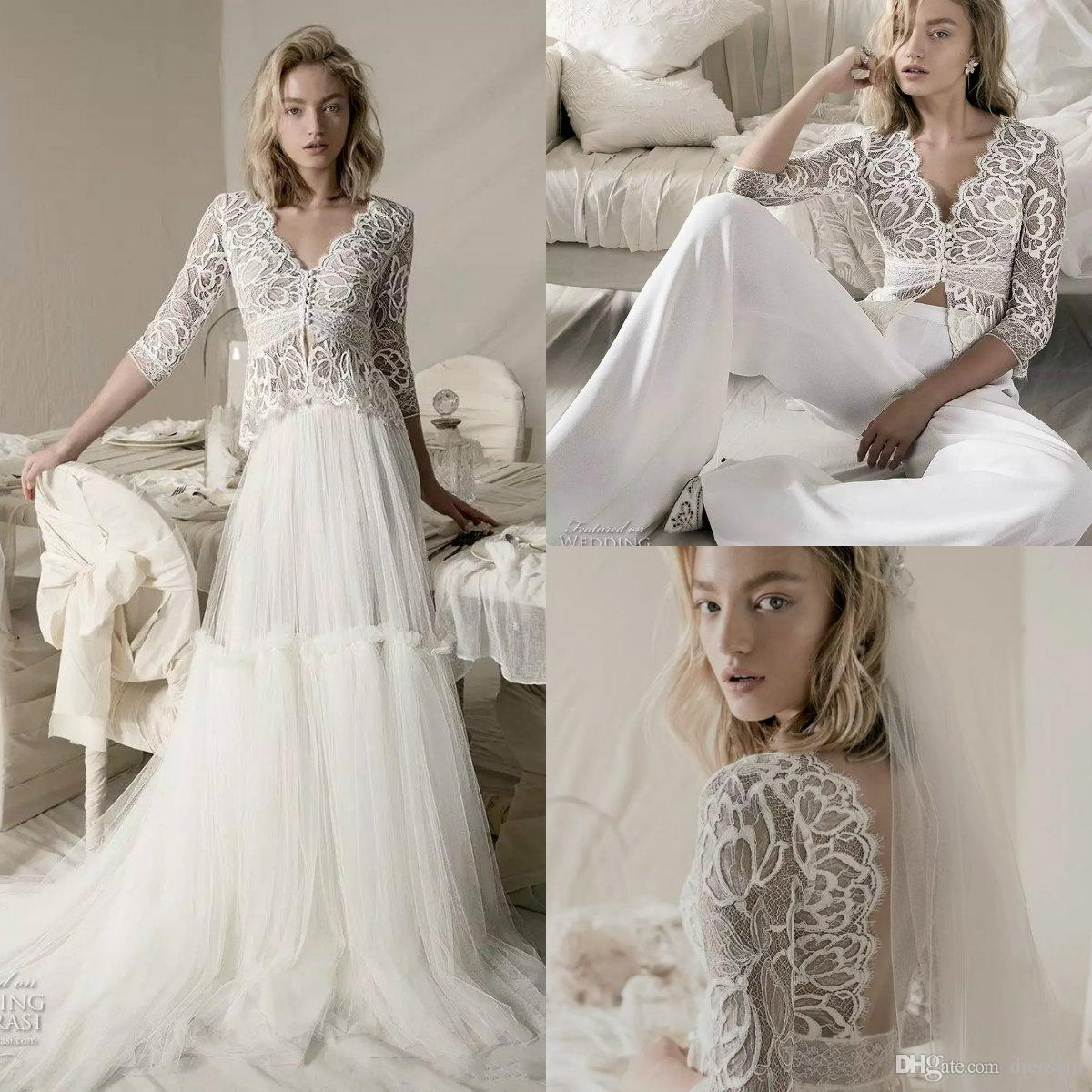 Discount Three Pieces Pants Wedding Dresses With Detachable