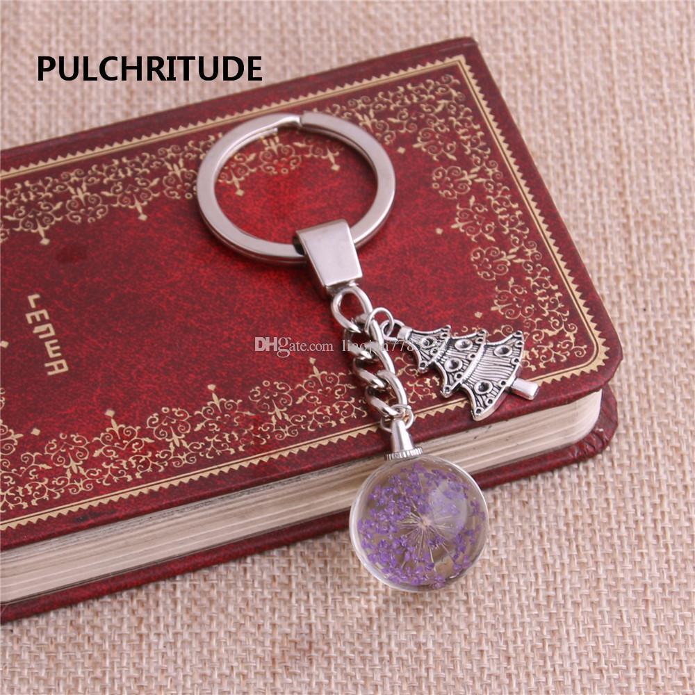 / Métal Porte-clés Cristal Boule De Verre Séché Fleur Pendentif Arbre De Noël Charme Porte-clés Bijoux Diy C0494
