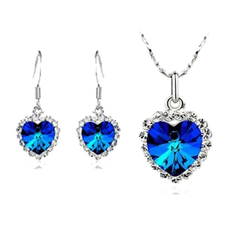 High Quality Brand Austrian Element Crystal Ocean Heart Pendant Love Alloy Necklace / Earrings / Rings / Bracelet Women's Jewelry Set NO010
