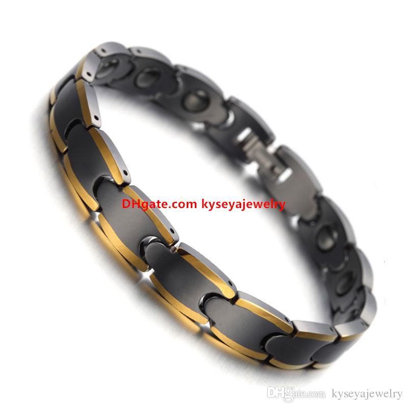 Healthy Magnetic Bio Elements Energy Tungsten Bracelets Bangles Two Tone Gold Color Germanium Bracelet for Men Jewelry