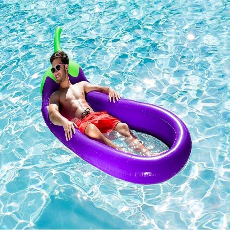 Inflatable Pool Float Giant Eggplant Raft Pool Lounger Silla de salón con bomba inflable de mano para tubo adulto Raft Kid Swimming Ring