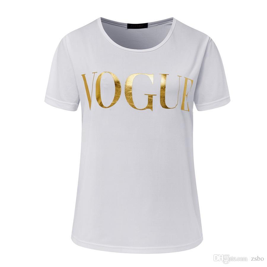 Fashion T-Shirts für Frauen T-Shirt Gold VOGUE Buchstabefrauen-Kurzarmshirt mit runden Ausschnitt grafischen T-Shirts der beiläufigen Frauen Tops 2017 New NV08 RF