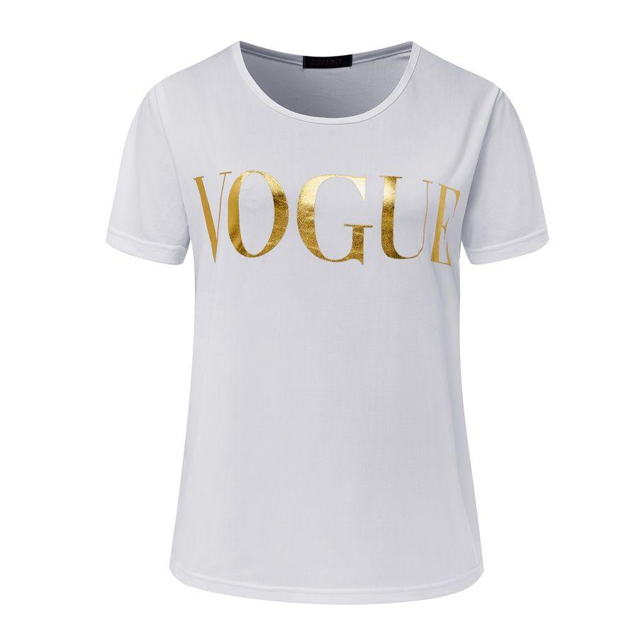 magliette di moda le donne lettera t-shirt oro delle donne di moda manica corta Girocollo tees grafiche Donna sportiva top 2017 Nuovo NV08 RF