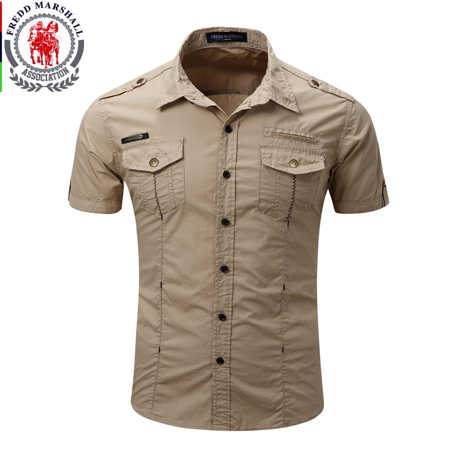 2f4111933 2019 Wholesale 2017 New Arrive Mens Cargo Shirt Men Casual Shirt Solid Short  Sleeve Shirts Work Shirt With Wash Standard US Size 100% Cotton From  Maoyili, ...