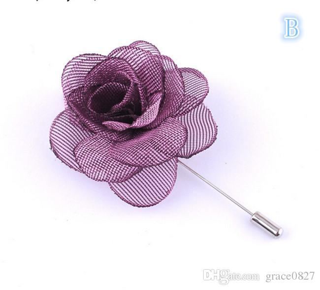 2017 Hot Lapel Flower Man Woman Camellia Handmade Boutonniere Stick Brooch Pin Men's Accessories in
