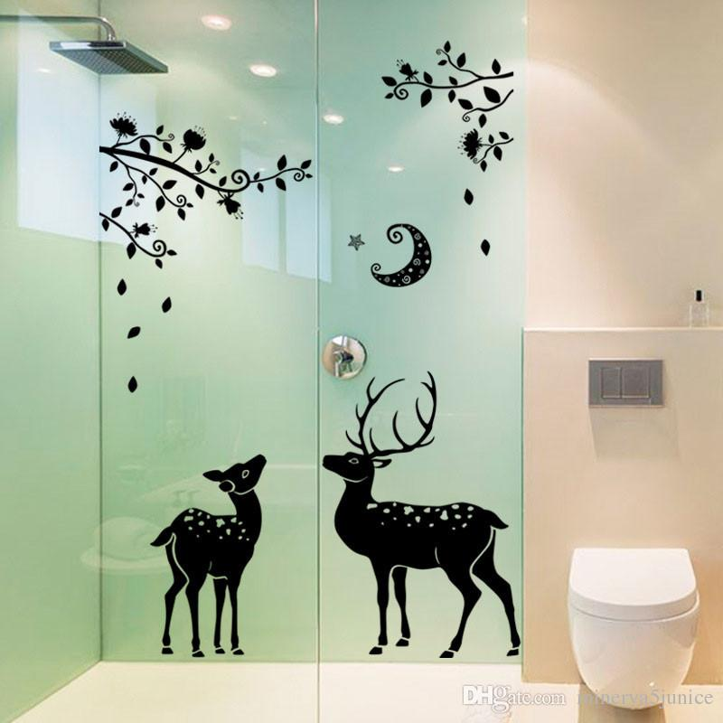 New christmas window stickers animal elk deer home decoration decals large pvc adhesive wall sticker newest creative home decor stickers online with