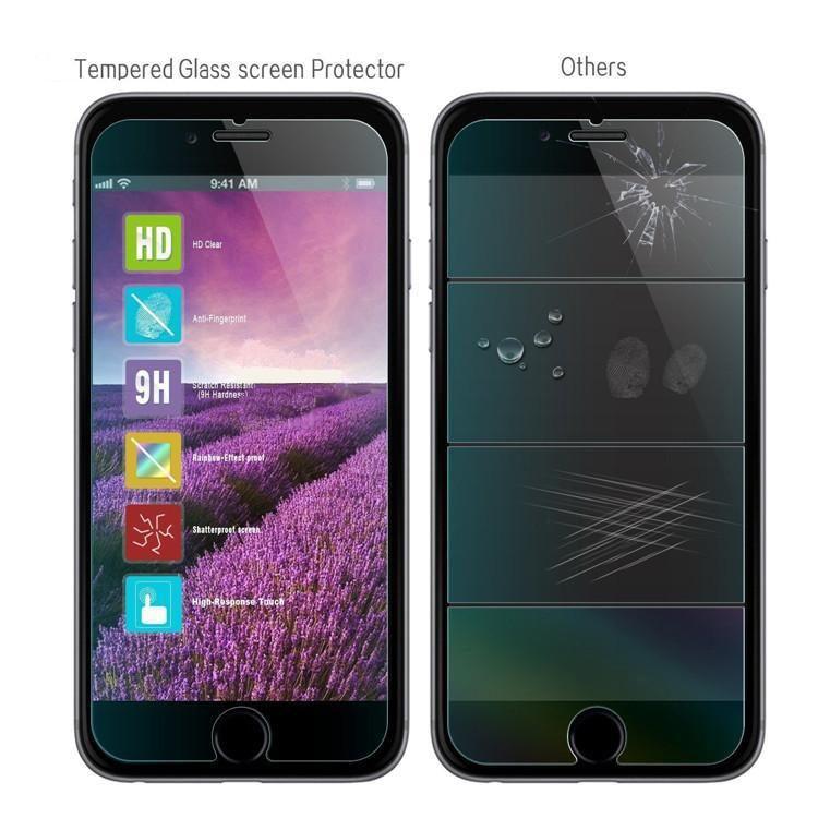 Gute qualität für iphone 7 7 plus 6 s plus iphone 5 displayschutzfolie gehärtetem glas für samsung s5 hinweis 5 s6 s7 kleinkasten