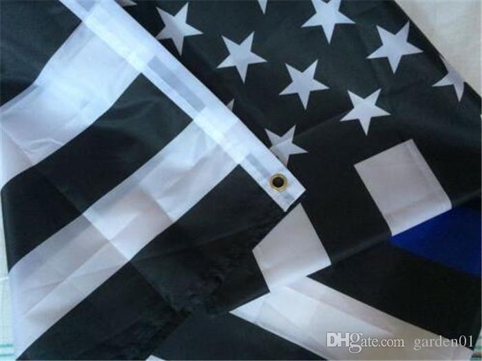 200 adet ABD Bayrakları Mavi Çizgi ABD Polis Bayrakları 3x5 Ayak Ince Kırmızı Çizgi Siyah Beyaz Ve Mavi Amerikan Bayrağı ile Pirinç Grommets G070