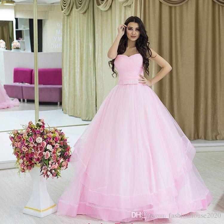 Schatz Ballkleider Rosa Plus Großhandel Kleider Sash Bow Quinceanera ARq54j3L