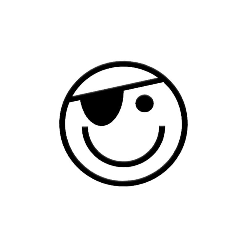 2019 smiley face with eye patch vinyl decal sticker car