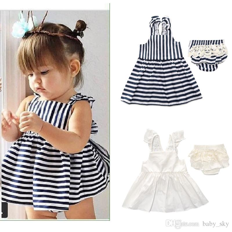6f2674f7938 2019 Kids Clothing Set Stripe Plain Baby Clothes Girls Dress Shorts  Boutique Children Fashion Summer Toddler Outfits Blue White Cute From  Baby sky