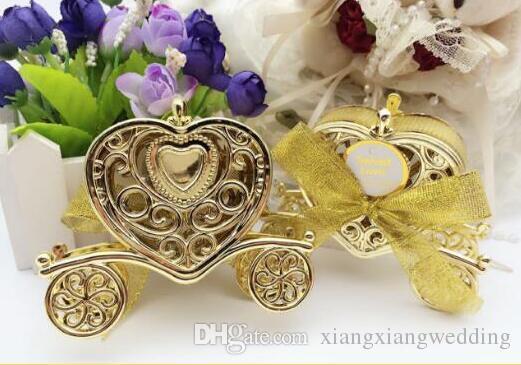 Caja de la boda del amor del carro favores de partido Caja de chocolate del caramelo del regalo Caja de oro y plata para la fiesta de cumpleaños del bebé de la boda