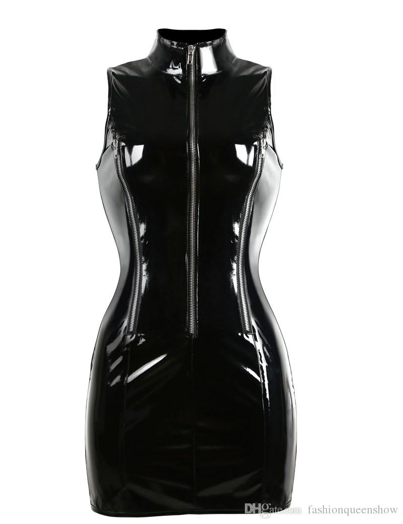 Top Quality Gothic Punk High Collar Sleeveless Catsuit Bodycon Women's Black PVC Mini Dress Shiny Zip Up Wet Look Vestido Night Clubwear