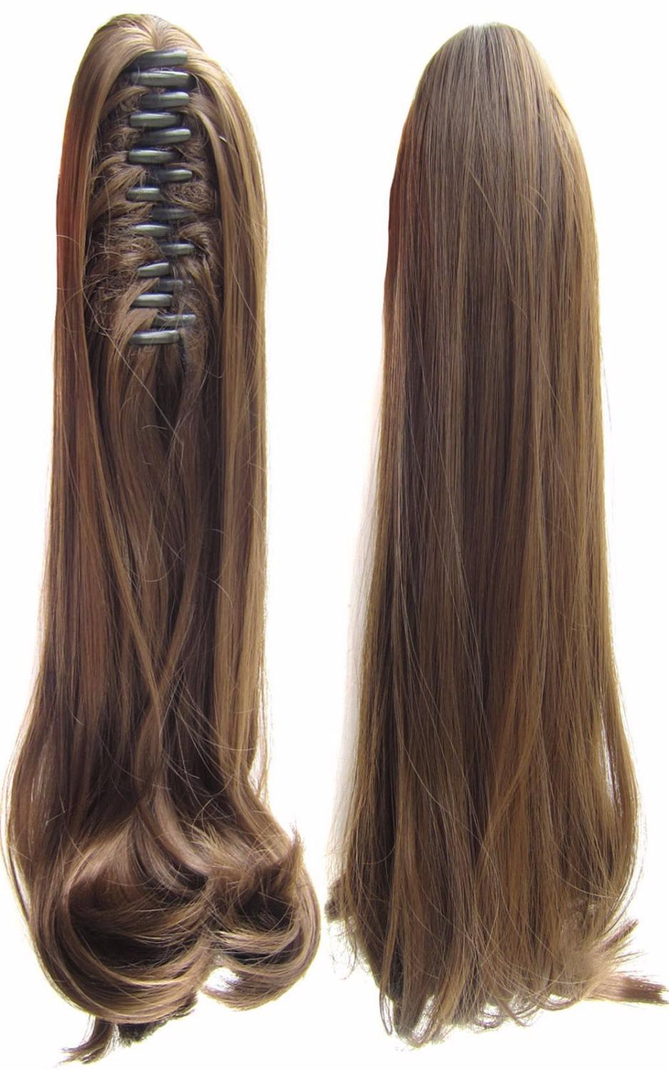 Wholesale 18inch Clip In On Hair Extension Synthetic Hair Curly Dark