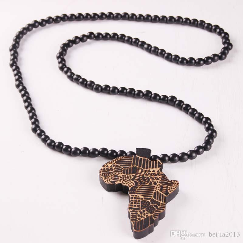 neue Afrika Karte Anhänger gute Holz Hip-Hop aus Holz NYC Mode Halskette # MG302
