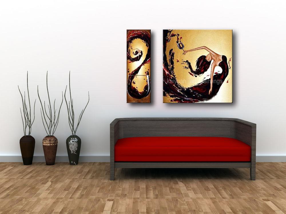 Pintado a mano abstracto pintura al óleo sobre lienzo Flying Dancing Girl Dibujar pinturas para el hogar decoración de la pared de dos imágenes combinadas