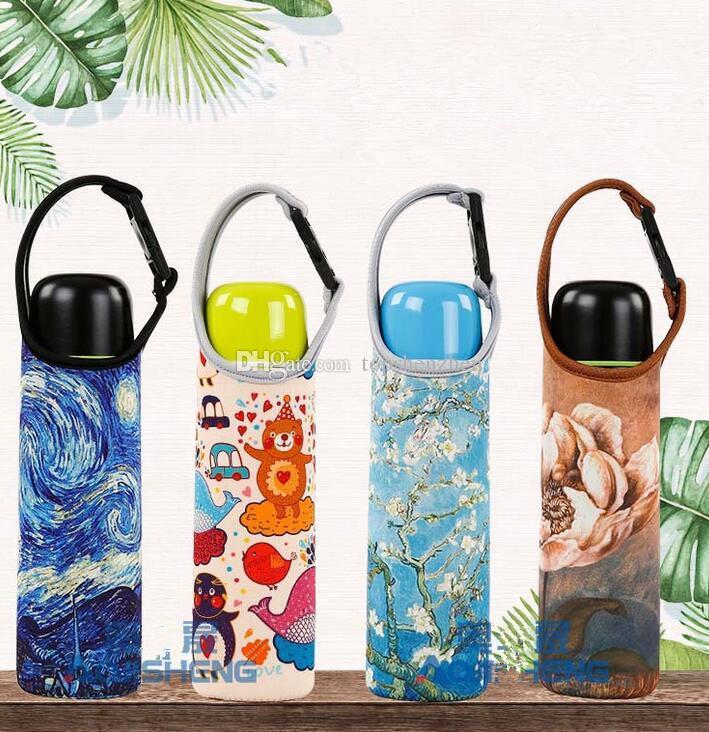 Protable 550ml 18oz water Bottles Insulated Cover Carrier Bag Neoprene Pouch Straps Travel Bottle Holder for kids Women MEN Water Bottle