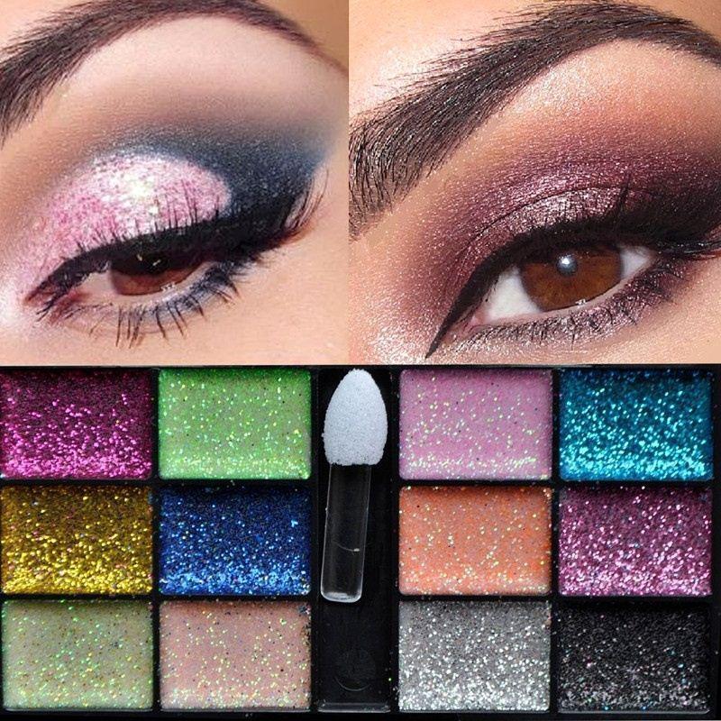 Cosmetic Women Warm Sparkle Glitter Makeup Cream Eyeshadow Brush ...