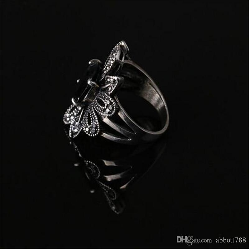 Luxury Vintage Antique Silver Plated Black Resin Carving Hollow Flower Big Finger Rings For Women Summer Fashion Charm Jewelry DH196