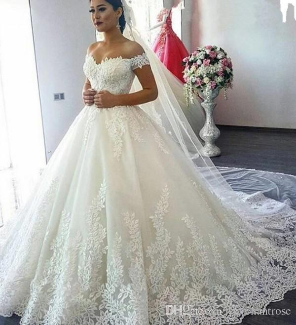 Vintage Princess Style Wedding Dresses in Turkey Off Shoulder Short Sleeve  Plus Size Bridal Gowns Court Train Cheap