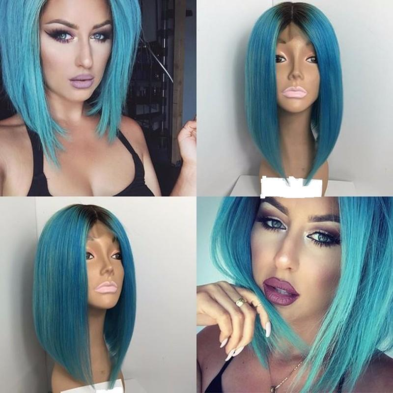 Ombre Lace Front Human Hair Wigs BOB T1b Sky Blue Malaysian Virgin Hair Two Tone Full Lace Wigs Natural Hairline With Baby Hair