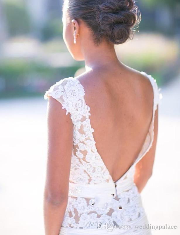 Mode Scoop Neck Mermaid Brautkleider Appliques Perlen Backless Tüll Satin Brautkleider Brautkleider Vestido De Novia