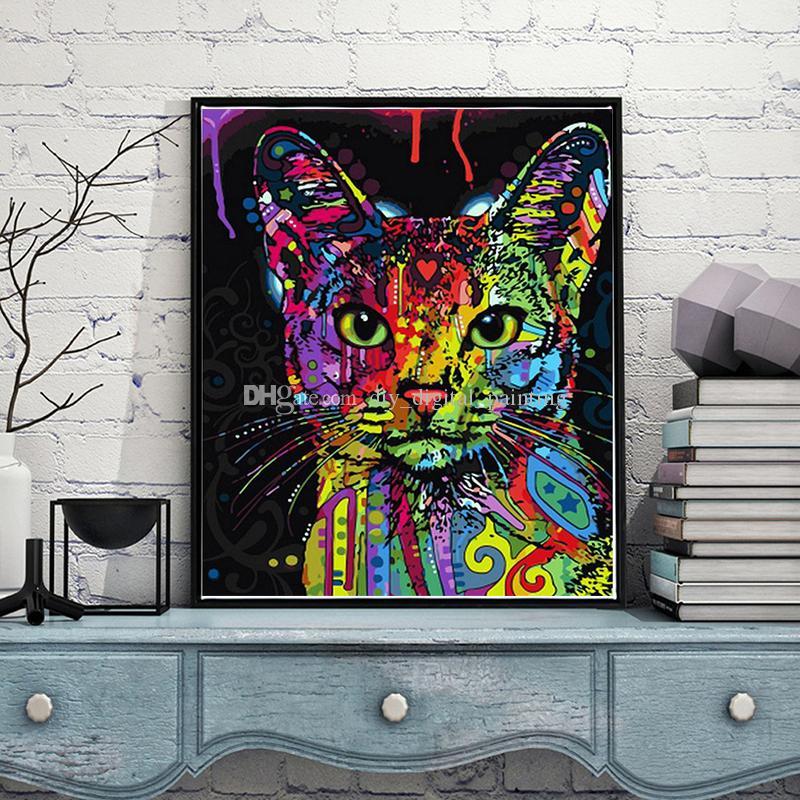 Satın Al Diy Boyama Dijital El Yağlıboya Renkli Kedi Kafası Ev Yatak